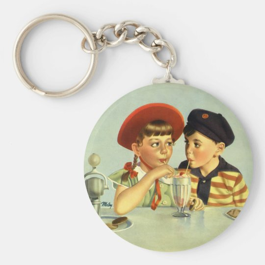 Vintage Children, Boy and Girl Sharing a Shake Basic Round Button Key Ring