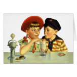 Vintage Children, Boy and Girl Sharing a Shake Cards