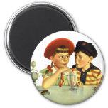 Vintage Children, Boy and Girl Sharing a Shake Fridge Magnet