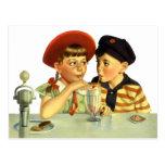 Vintage Children, Boy and Girl Sharing a Shake Postcards