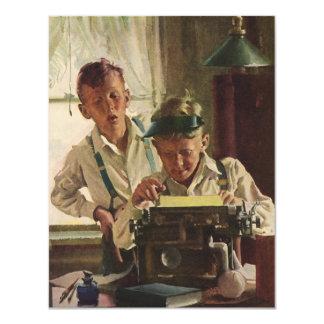 Vintage Children Boy Newspaper Journalists, Writer 11 Cm X 14 Cm Invitation Card