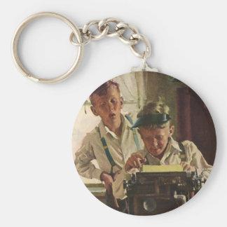 Vintage Children Boy Newspaper Journalists, Writer Basic Round Button Key Ring