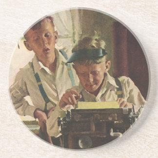 Vintage Children Boy Newspaper Journalists Writer Drink Coaster