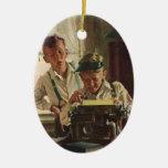 Vintage Children Boy Newspaper Journalists, Writer Ornament