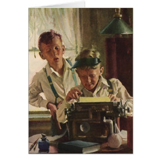 Vintage Children Boy Newspaper Journalists, Writer Greeting Card