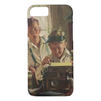 Vintage Children Boy Newspaper Journalists, Writer iPhone 7 Case