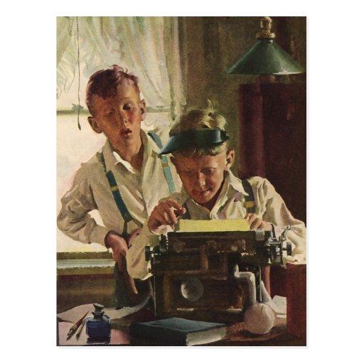 Vintage Children Boy Newspaper Journalists, Writer Post Cards