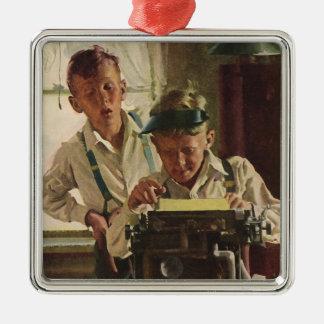 Vintage Children Boy Newspaper Journalists, Writer Silver-Colored Square Decoration