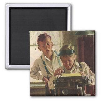 Vintage Children Boy Newspaper Journalists, Writer Square Magnet