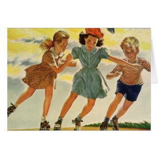 Vintage Children, Boys Girls Fun Roller Skating Greeting Card