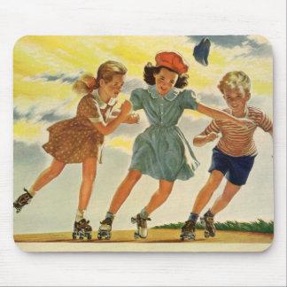 Vintage Children, Boys Girls Fun Roller Skating Mouse Mat
