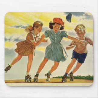 Vintage Children, Boys Girls Fun Roller Skating Mouse Pad