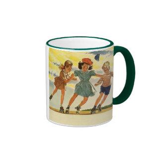 Vintage Children, Boys Girls Fun Roller Skating Coffee Mug