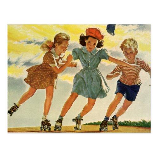 Vintage Children, Boys Girls Fun Roller Skating Postcard