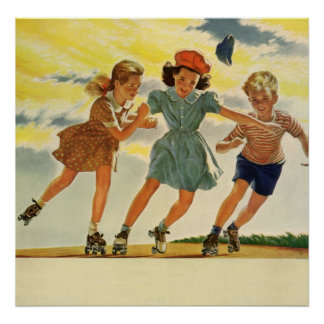 Vintage Children, Boys Girls Fun Roller Skating Poster