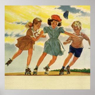 Vintage Children, Boys Girls Fun Roller Skating Poster