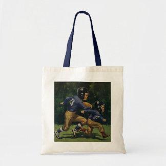 Vintage Children, Boys Playing Football, Sports Budget Tote Bag