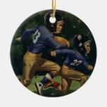 Vintage Children, Boys Playing Football, Sports Christmas Ornament