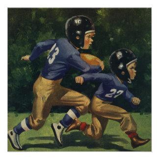 Vintage Children Boys Playing Football Sports Custom Announcement