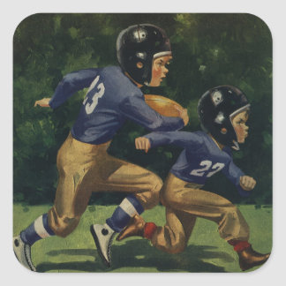 Vintage Children, Boys Playing Football, Sports Square Sticker