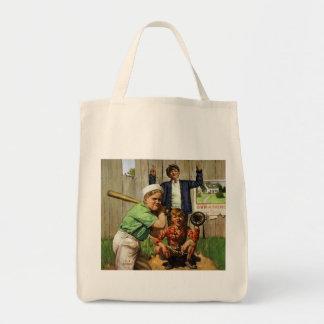 Vintage Children Boys Sports Baseball Player Game Grocery Tote Bag