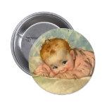 Vintage Children Child, Cute Baby Girl on Blanket 6 Cm Round Badge