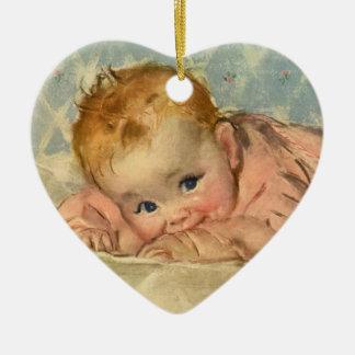 Vintage Children Child, Cute Baby Girl on Blanket Ceramic Heart Decoration
