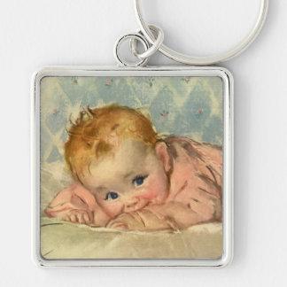 Vintage Children Child, Cute Baby Girl on Blanket Key Chain