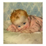 Vintage Children Child, Cute Baby Girl on Blanket Posters