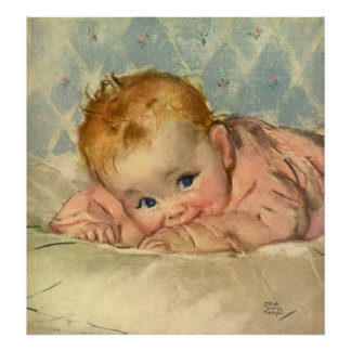 Vintage Children Child Cute Baby Girl on Blanket Posters