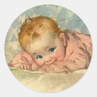 Vintage Children Child Cute Baby Girl on Blanket Stickers