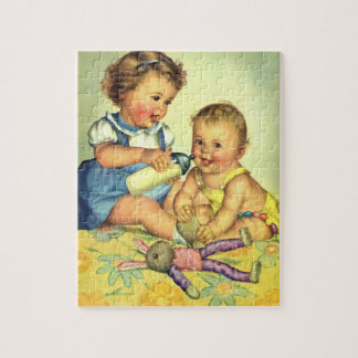 Vintage Children, Cute Happy Toddlers Smile Bottle Jigsaw Puzzle