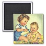 Vintage Children, Cute Happy Toddlers Smile Bottle Fridge Magnets