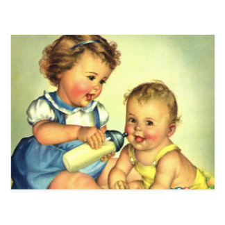 Vintage Children, Cute Happy Toddlers Smile Bottle Postcard