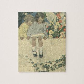 Vintage Children, Garden Wall Jessie Willcox Smith Jigsaw Puzzle