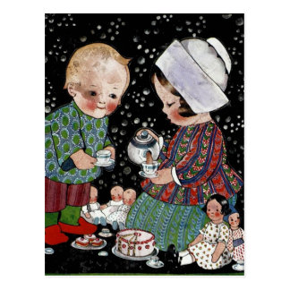 Vintage Children Having a Pretend Tea Party Postcard