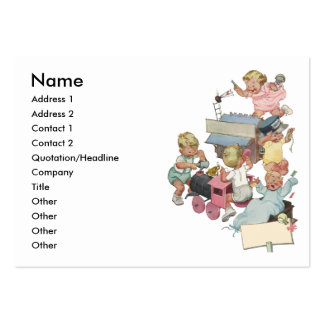 Vintage Children Having Fun Playing w Toy Trains Business Card Template