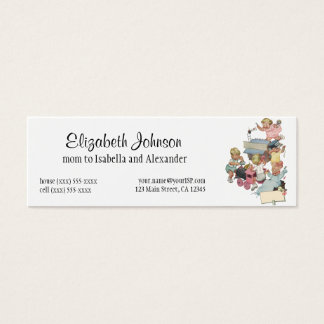 Vintage Children Having Fun Playing w Toy Trains Mini Business Card