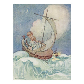 Vintage Children in Boat by Anne Anderson Poster