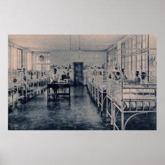 Vintage children in sanatorium hospital beds poster