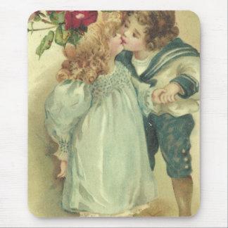 Vintage Children Kiss A Birthday Greeting Mousepad