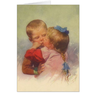 Vintage Children Kissing Art, Karl Feiertag 1910 Card