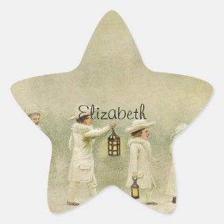 Vintage Children Lanterns Snow Star Stickers