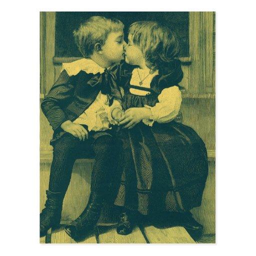 Vintage Children, Love, Romance, an Innocent Kiss Post Card