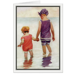 Vintage Children Paddling by Jessie Willcox Smith Card