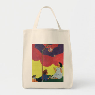 Vintage Children Play Girl and Boy Blowing Bubbles Grocery Tote Bag