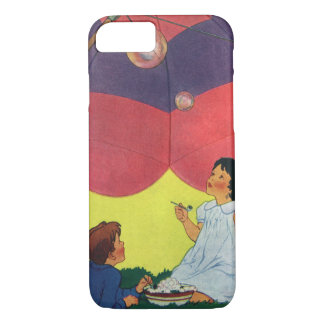 Vintage Children Play Girl and Boy Blowing Bubbles iPhone 7 Case