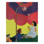 Vintage Children Play Girl and Boy Blowing Bubbles Poster