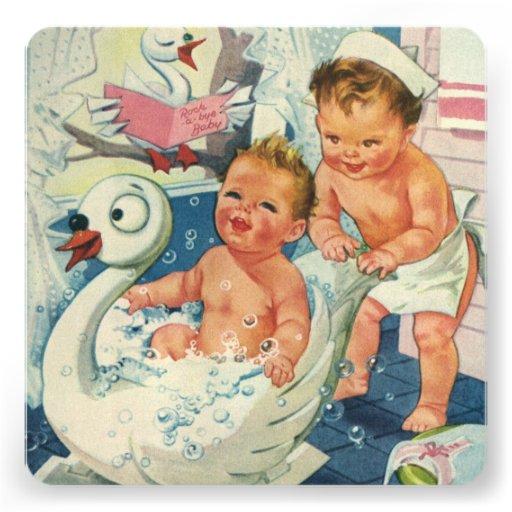 Vintage Children Playing Bubble Bath, Baby Shower Invitation