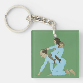 Vintage Children Playing Father Horsie 1910s Blue Single-Sided Square Acrylic Key Ring